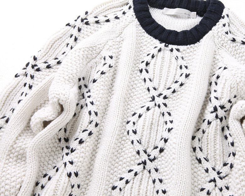 엘록(ELOQ) [ELOQ]_E148MSW157W_(여) 덧수 케이블 스웨터